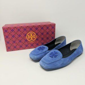 Tory Burch Fitz Blue Logo Kid Suede Loafers